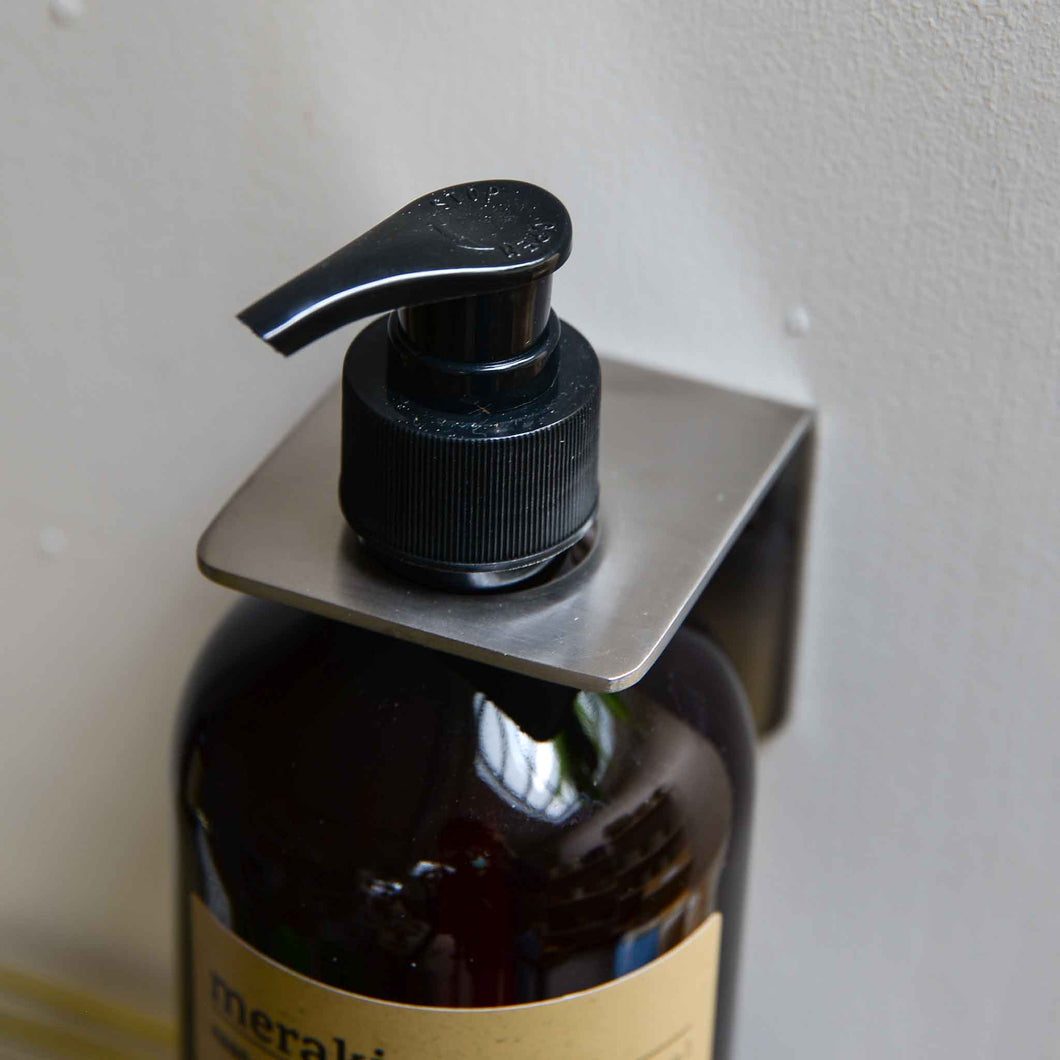 Brushed Silver Soap Bottle Holder Wall Bracket
