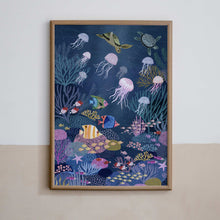 Load image into Gallery viewer, petit monkey coral reef poster jellyfish