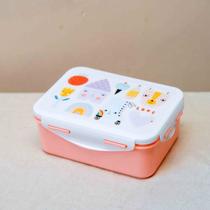 petit monkey kids lunchbox pink house