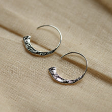Load image into Gallery viewer, Rustic Silver Plated Valkyria Hoop Earrings