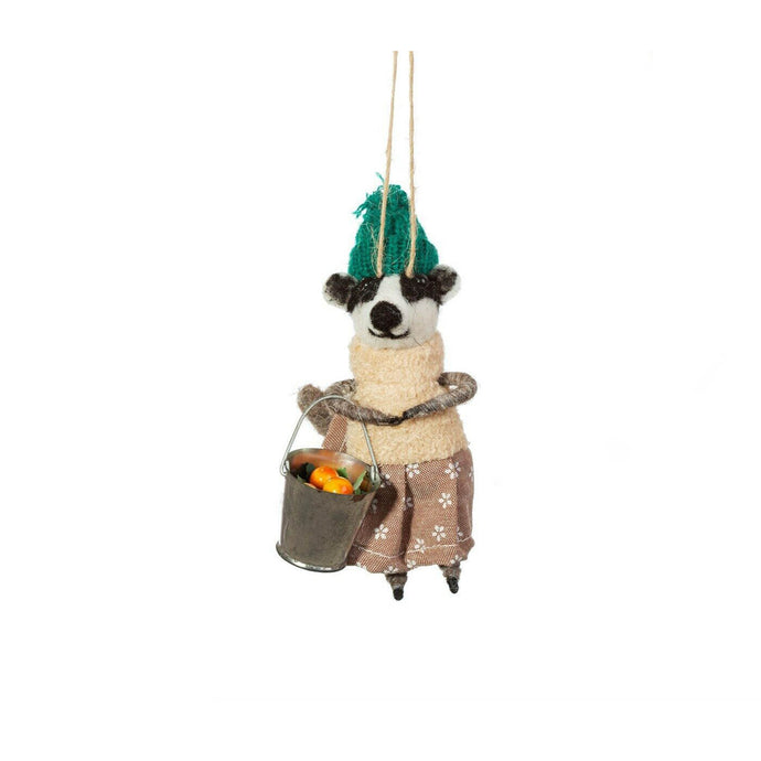 Gardening Badger in Dress Felt Hanging Decoration