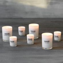Load image into Gallery viewer, meraki white glass soy candle sandalwood and jasmine large candle grouped shot