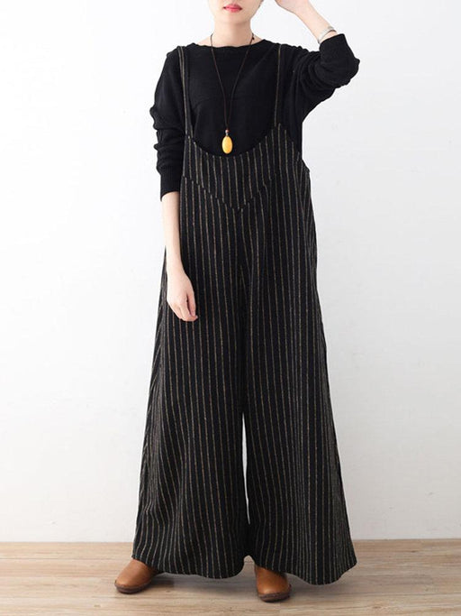 Vertical Striped Sleeveless Jumpsuits