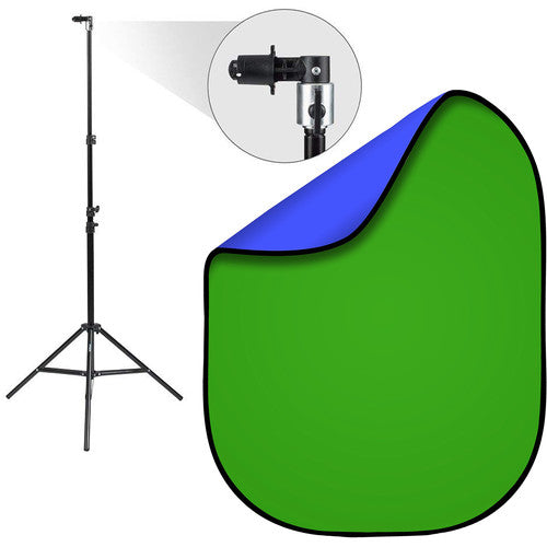 2 In 1 Popup Reversible Green Screen Background Backdrop With Stand