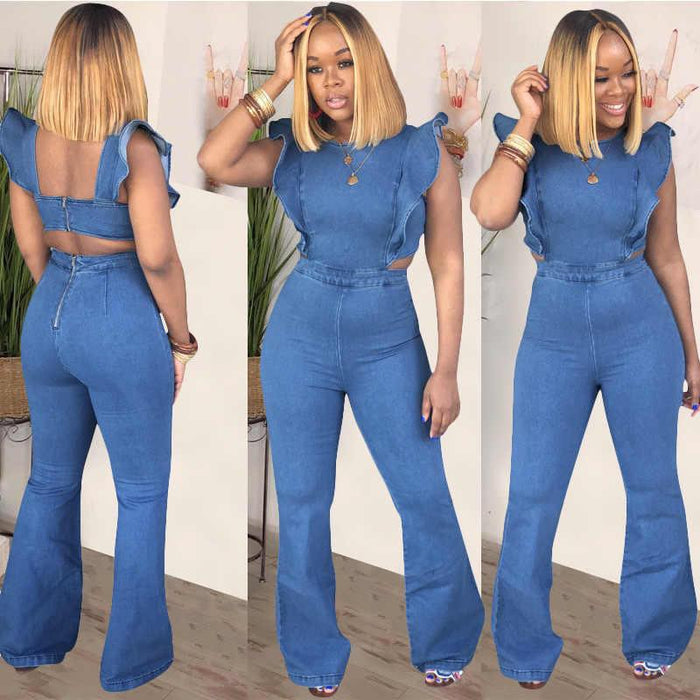 women' sling denim jumpsuit