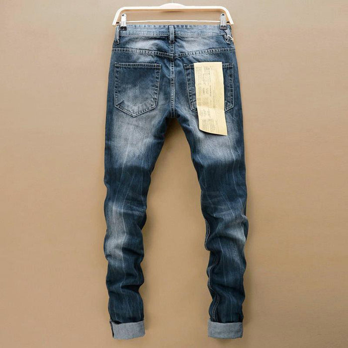 Stylish Straight Slim Fit Designer Ripped Jeans