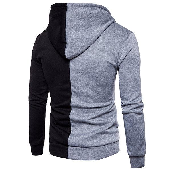 Stitching Color Casual Zip Up Hoodies