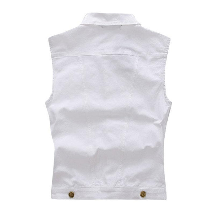 White Stylish Slim Denim Vest
