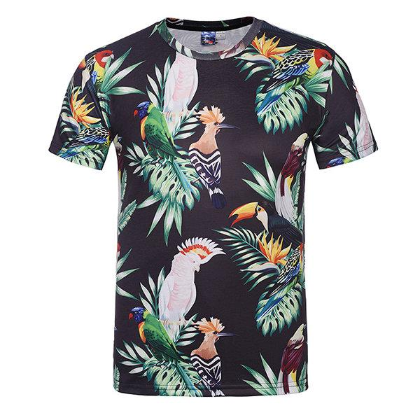 Summer Casual Tee Top 3D Natural Scenery Round Neck Short sleeve T-shirt for Men