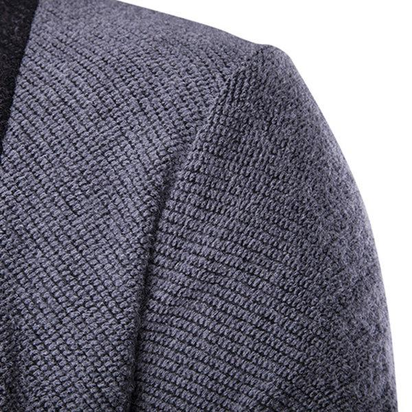 Warm Fleece Knitted Splicing Color Casual Cardigans for Men