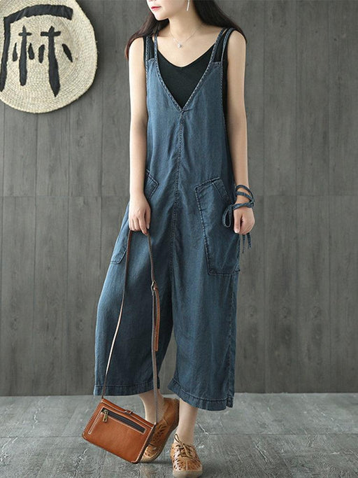 Strap Denim Overall Jumpsuits
