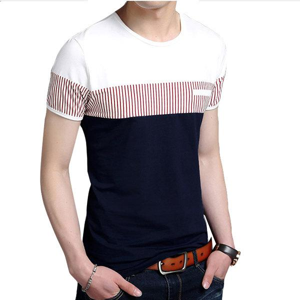 Summer Striped Short-Sleeved Cotton T-shirts
