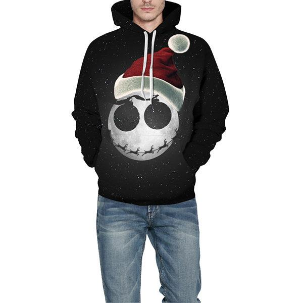 Unisex Fashion Christmas Hat Printing Long Sleeve Hoodie Sp