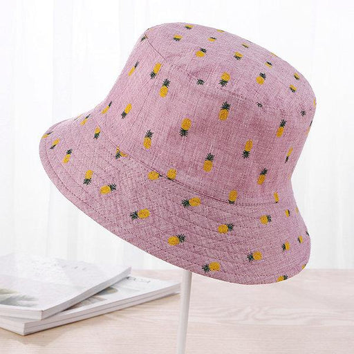Women Pineapple Printing Sunshade Bucket Caps