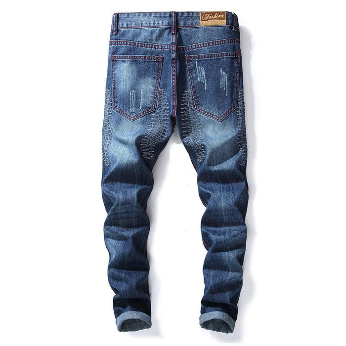 Stylish Red Stitching Holes Jeans