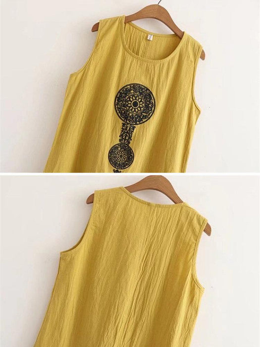 Vintage Embroidery Tank Tops