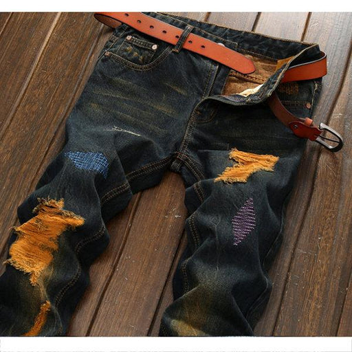 Vintage Stylish Hole  Ripped Designer Jean