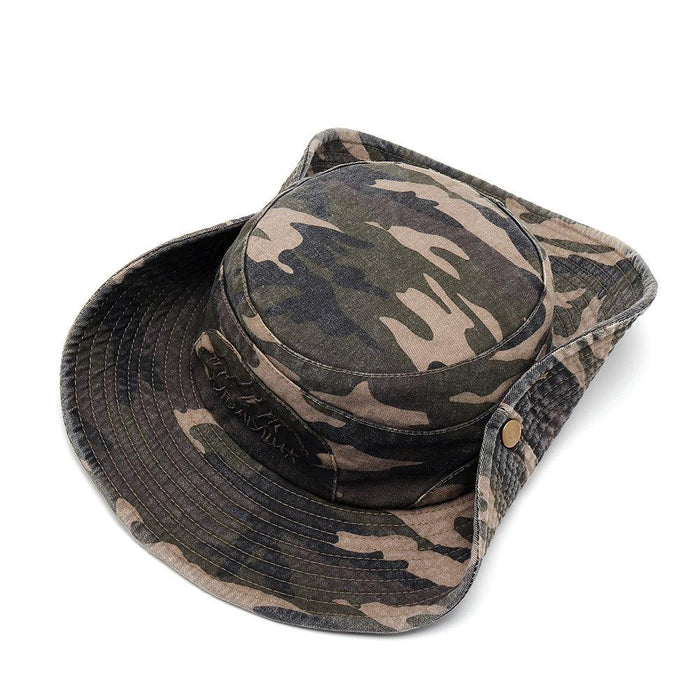 Washed Retro Camouflage Pattern Fisherman Hat