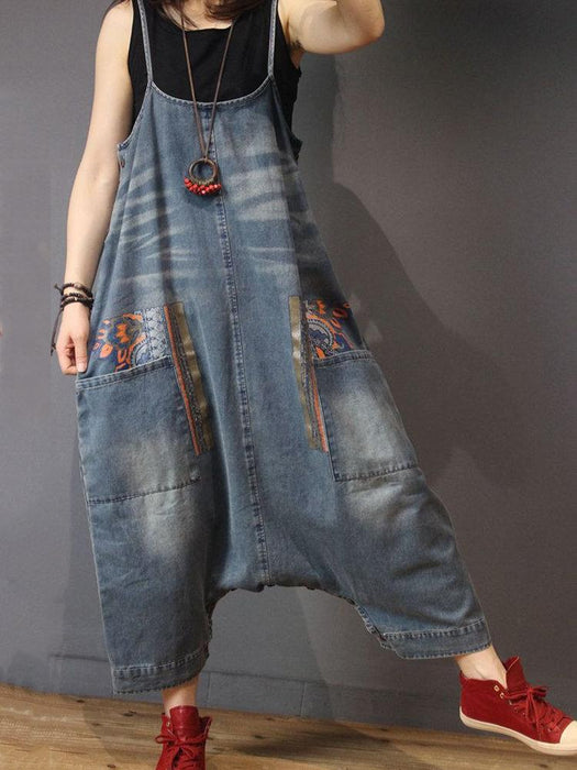 Vintage Printed Denim Jumpsuits
