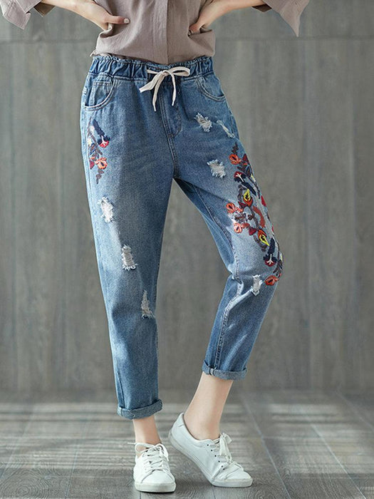 Vintage Embroidery Women Ripped Jeans