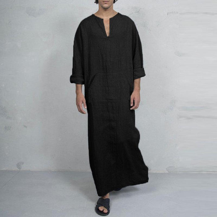 Vintage V-neck Loose Splits Long Shirts