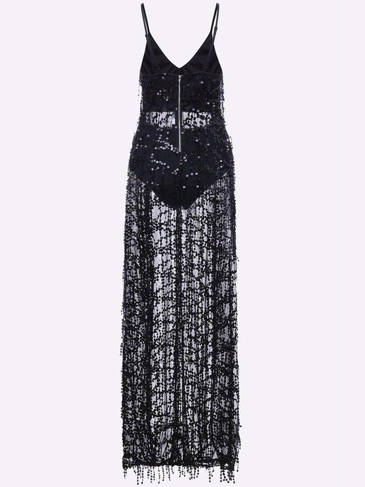 Tassels Sequins Slit Hem V-neck Party Maxi Dress For Women