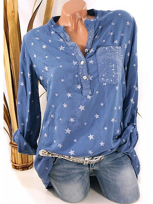 Star Printed Sequins Pocket Shirt