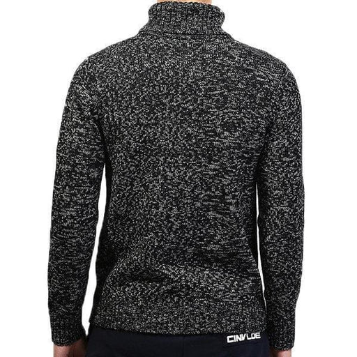 CN Black / L Mens High-neck Solid Casual Sweater
