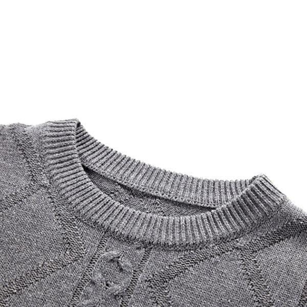 CN Black / L Mens Wool Solid Color Knitted Sweater