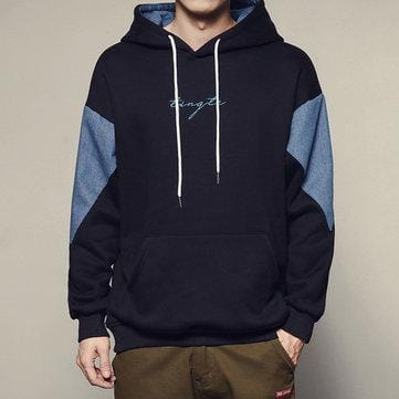 CN Black / L Sleeve Patchwork Design Casual Hoodies