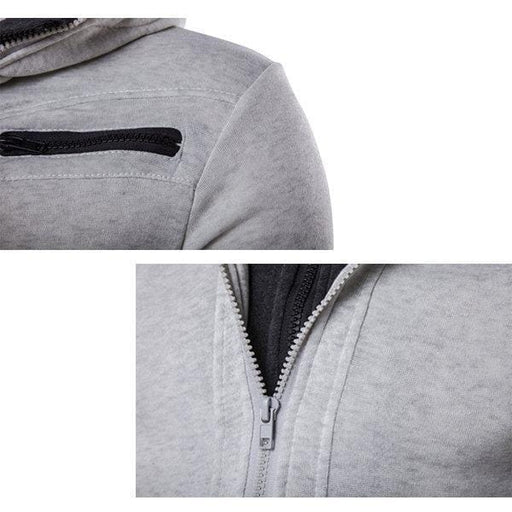 Newchick Black / M Casual Zip Up Sport Hooded Tops for Men