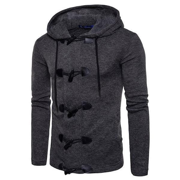 CN Black / S Mens Horns Button Knit Casual Cardigans