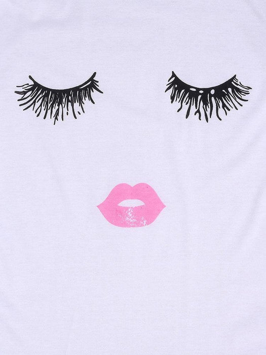 CN Blouses & Shirts Black / US 2 Plus Size Casual 3D Eyelash Lip Printed T-Shirt For Women