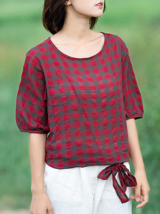 CN Blouses & Shirts Red / M Plaid Bow-knot Hem Blouses