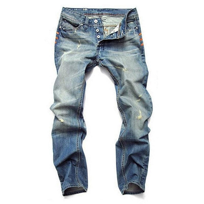 CN Blue / 30 Ripped Fold Stitching Straight Washed Jeans