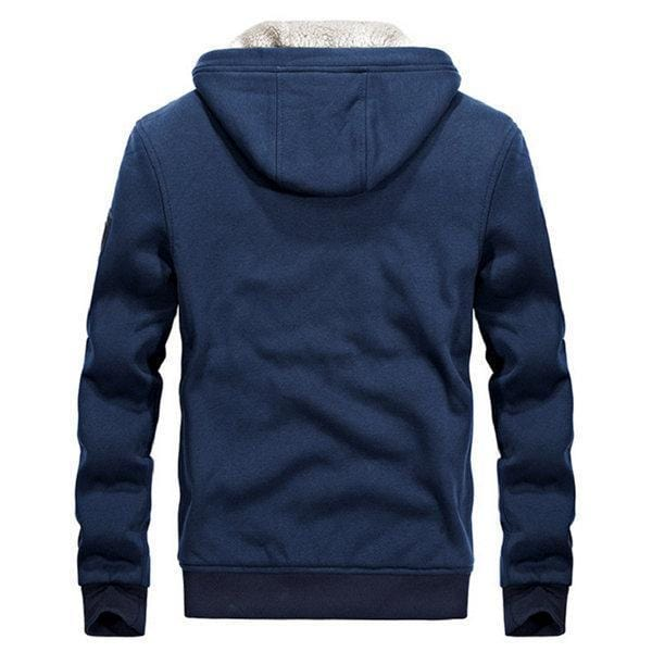 CN Blue / L Mens Oversize Solid Long Sleeve Thicken Hoodie