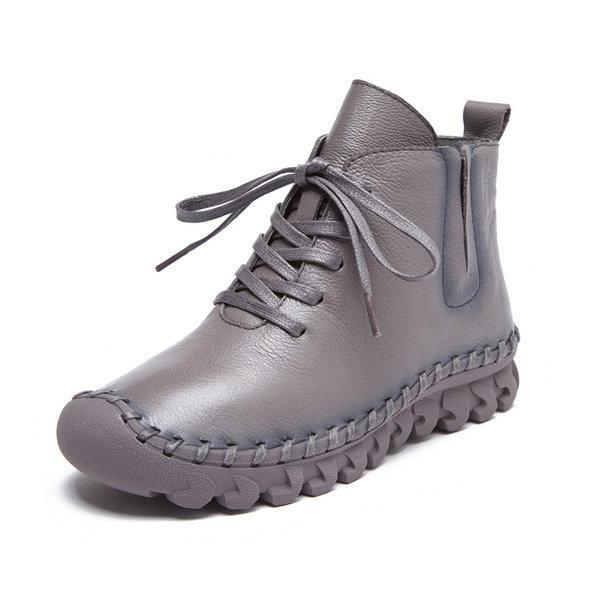 Newchick Boots Gray / 36 Genuine Leather Pure Color Lace Up Soft Sole Boots For Women