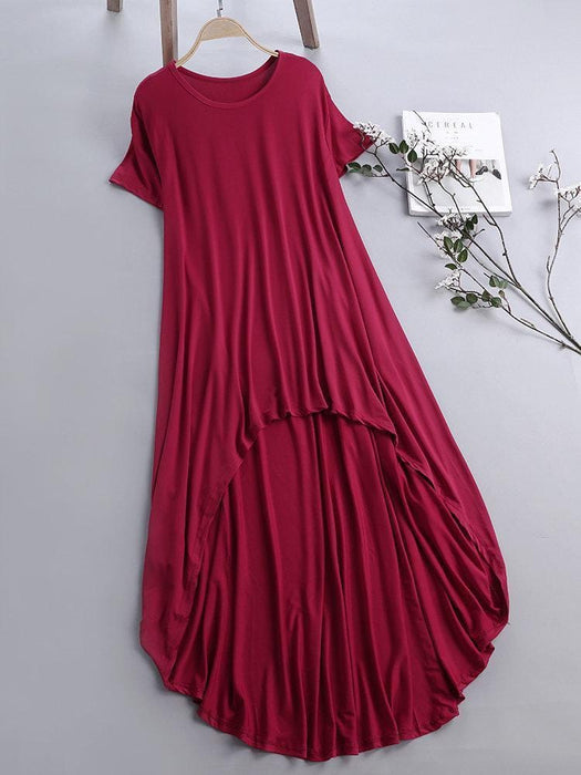 CN Casual Dresses Wine Red / S Pure Color Inregular Casual Dresses