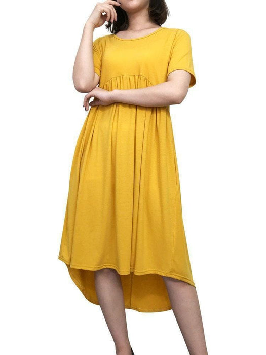 Newchick Casual Dresses Yellow / S Pure Color Irregular Casual Dresses