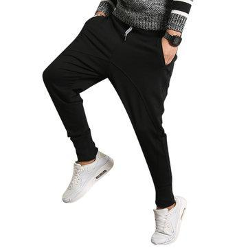 CN Casual Pants Black / L Elastic Solid Color Double Pocket Pants