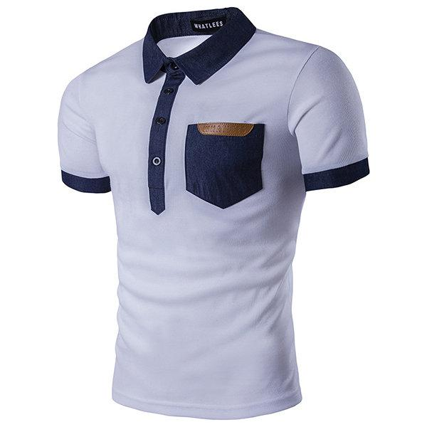 Stitching Color Front Pocket Golf Shirt