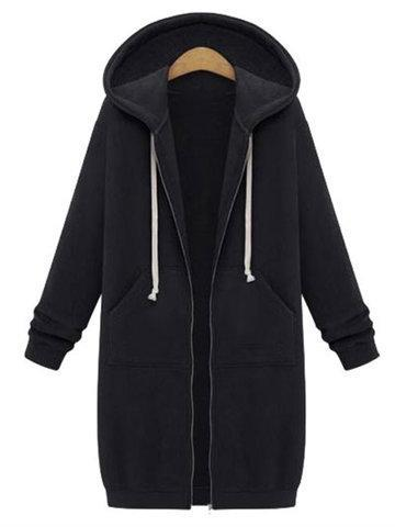 CN Coats & Jackets Black / S Zipper Long Sleeve Hooded Coats