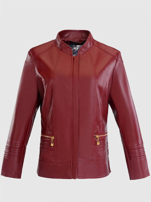 CN Coats & Jackets Red / L Casual Solid Color Women Leather Coat