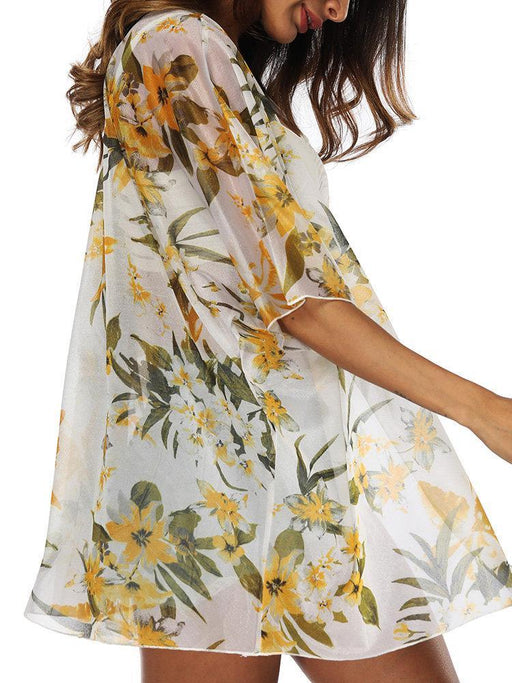 CN Cover Ups Orange / One Size Flower Printing Cover Ups