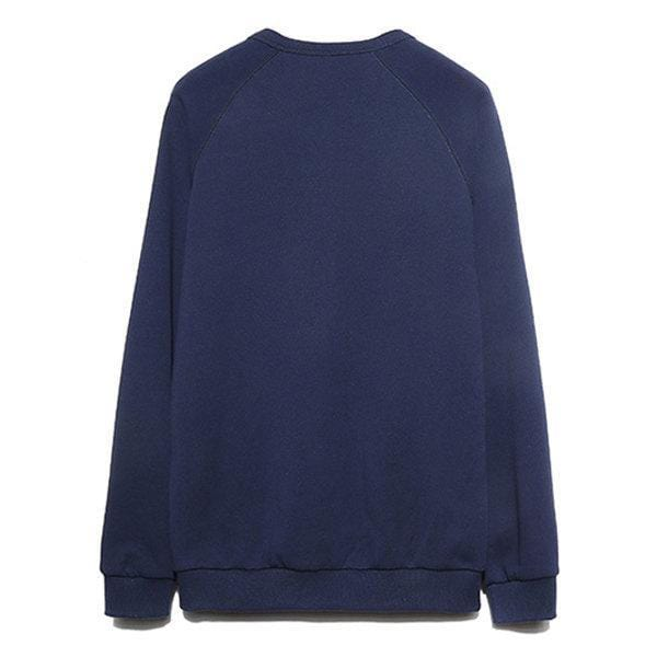 CN Dark Blue / L Solid Color Casual Cotton Sweatshirt