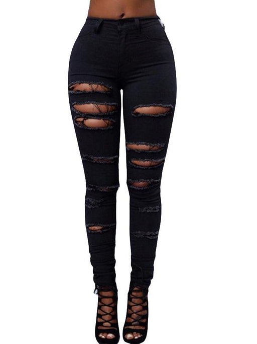 CN Denim & Jeans Black / S Hollow High Waist Ripped Jeans