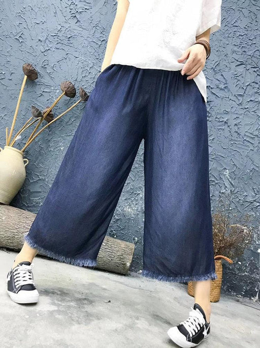 CN Denim & Jeans Dark Blue / One Size Solid Color Fringes Casual Jeans