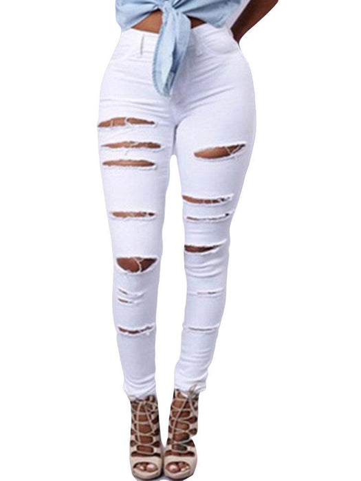 CN Denim & Jeans White / S Hollow High Waist Ripped Jeans