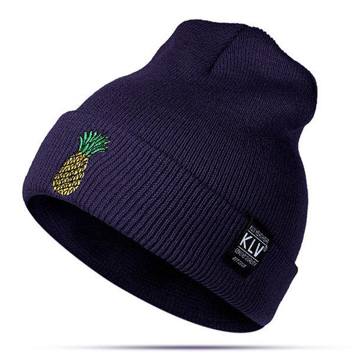 Women Pineapple Embroidered Knitted Beanies Hats