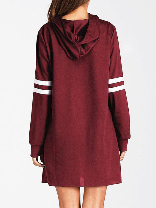 Stripe Hooded Women Sweatshirt Dresses